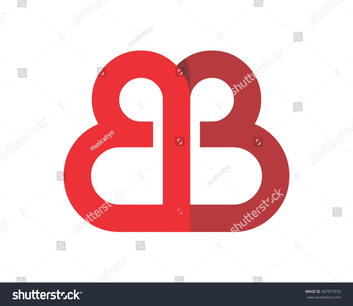 Bb Red Initial Symbol Typography Typeface Stock Vector Royalty Free