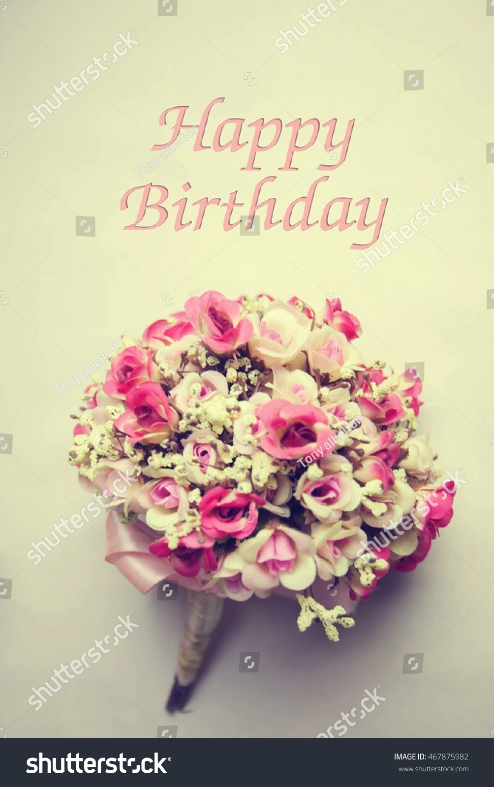 Vintage Flowers Card Happy Birthday Holiday Stock Photo Edit Now