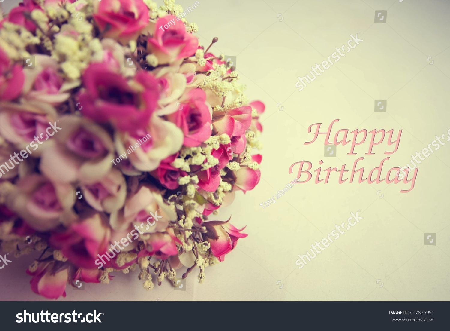 Vintage flowers card happy birthday holiday stock photo edit now vintage flowers and card happy birthday holiday background select focus blur background izmirmasajfo