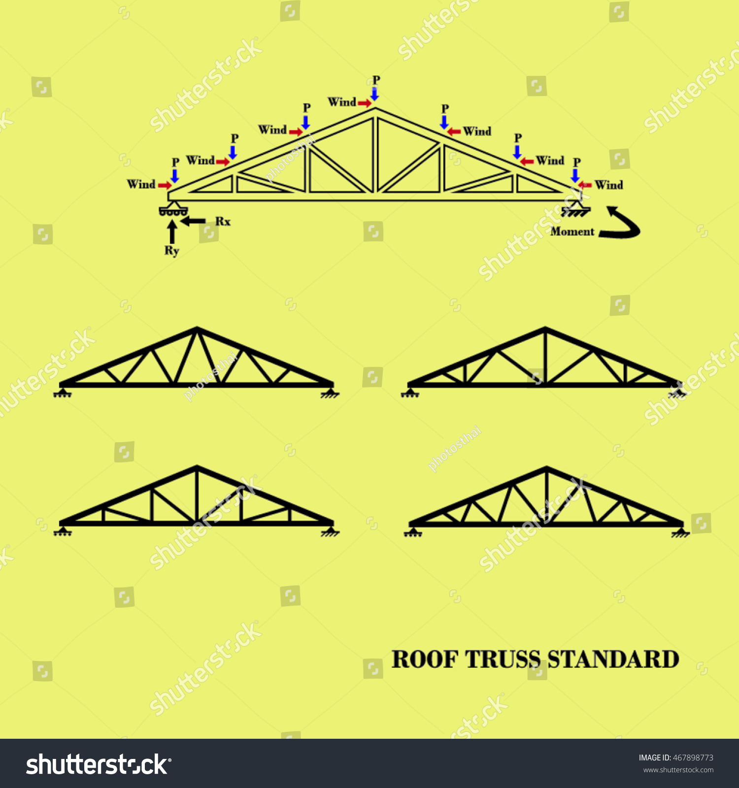 Roof truss illustration stock vector 467898773 shutterstock for Roof truss sign