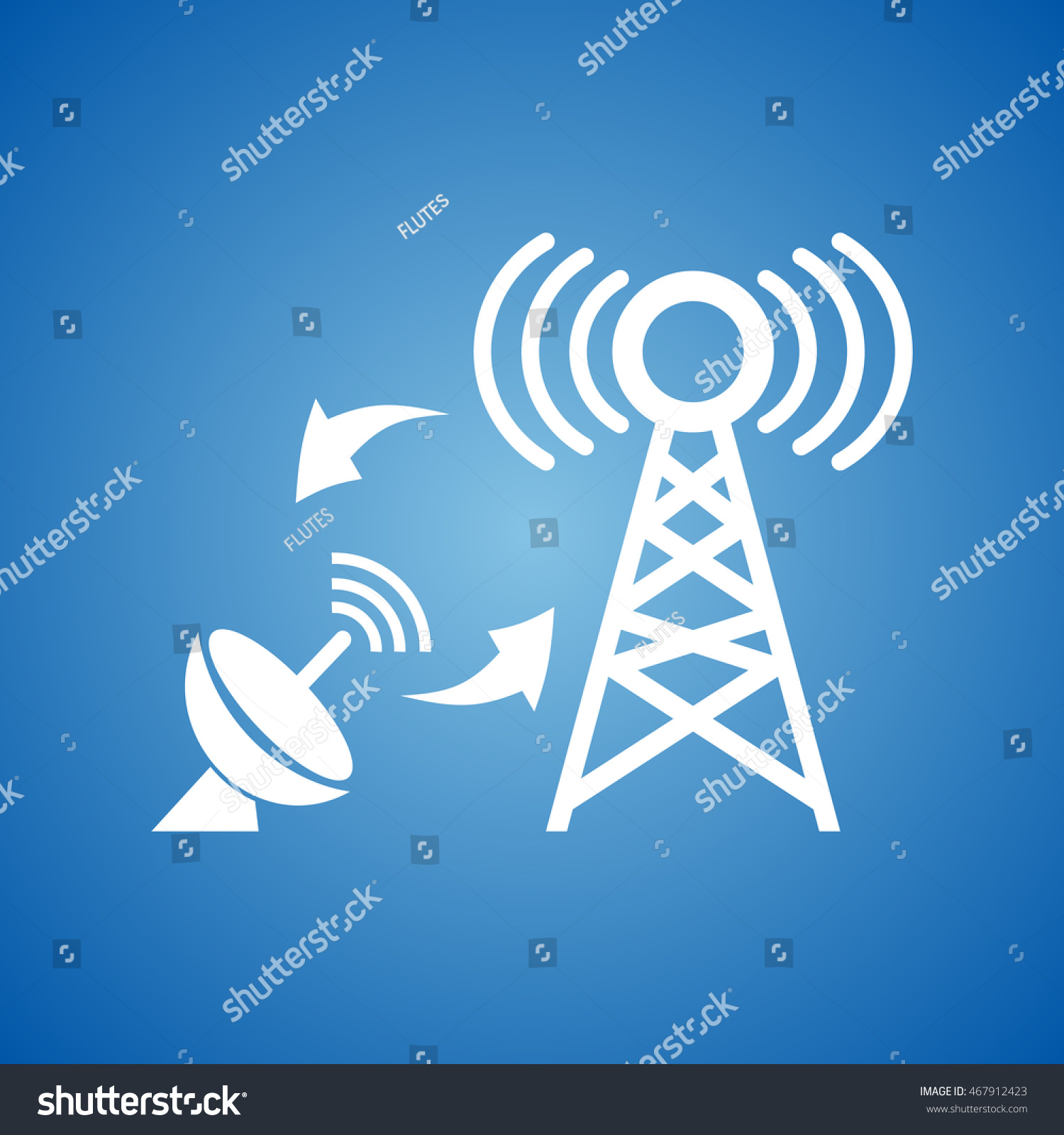Dish Antenna Network Tower Icon On Stock Vector 467912423 Shutterstock