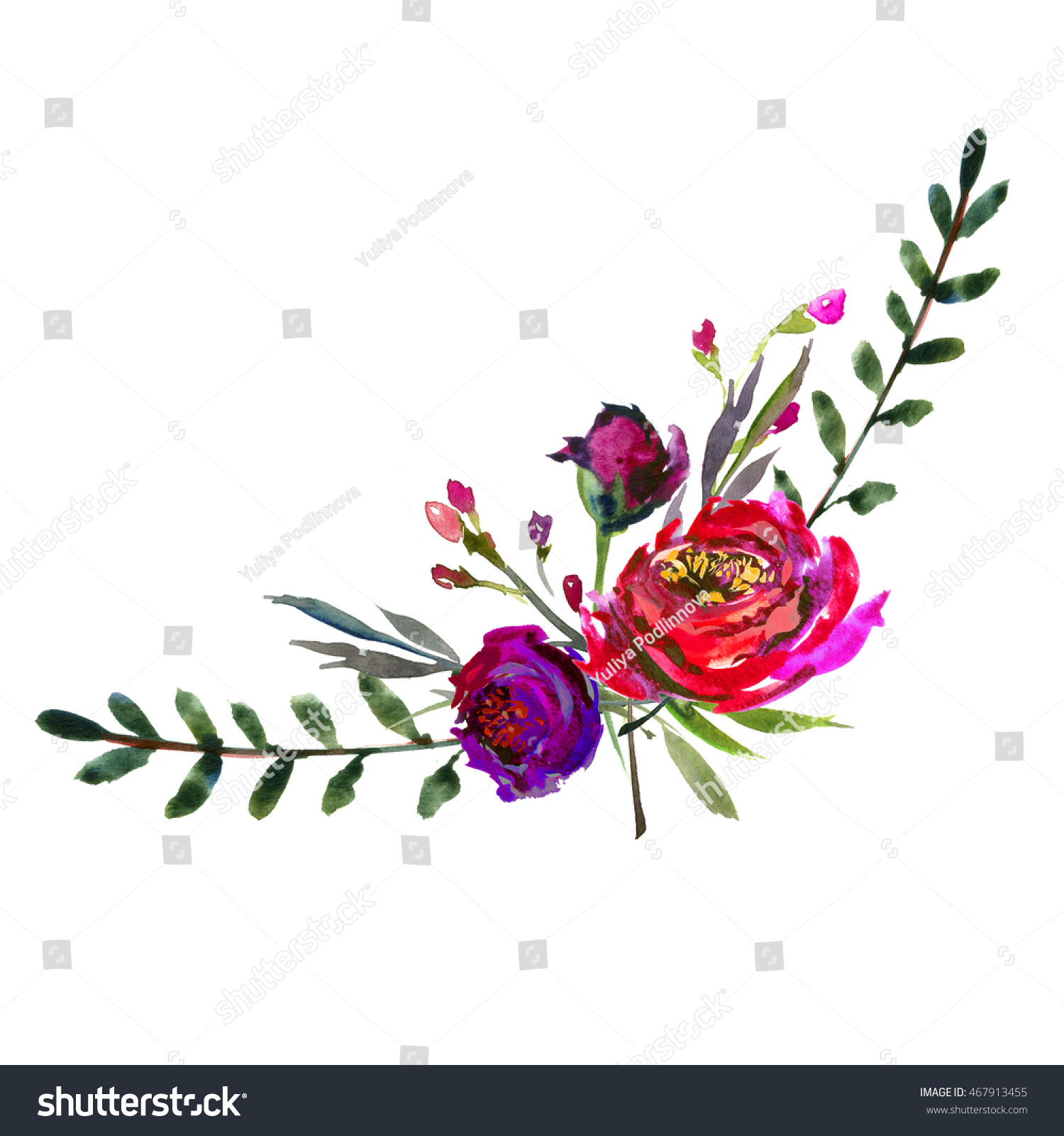 Watercolor Purple Red Flowers And Peonies Bouquet Arrangement