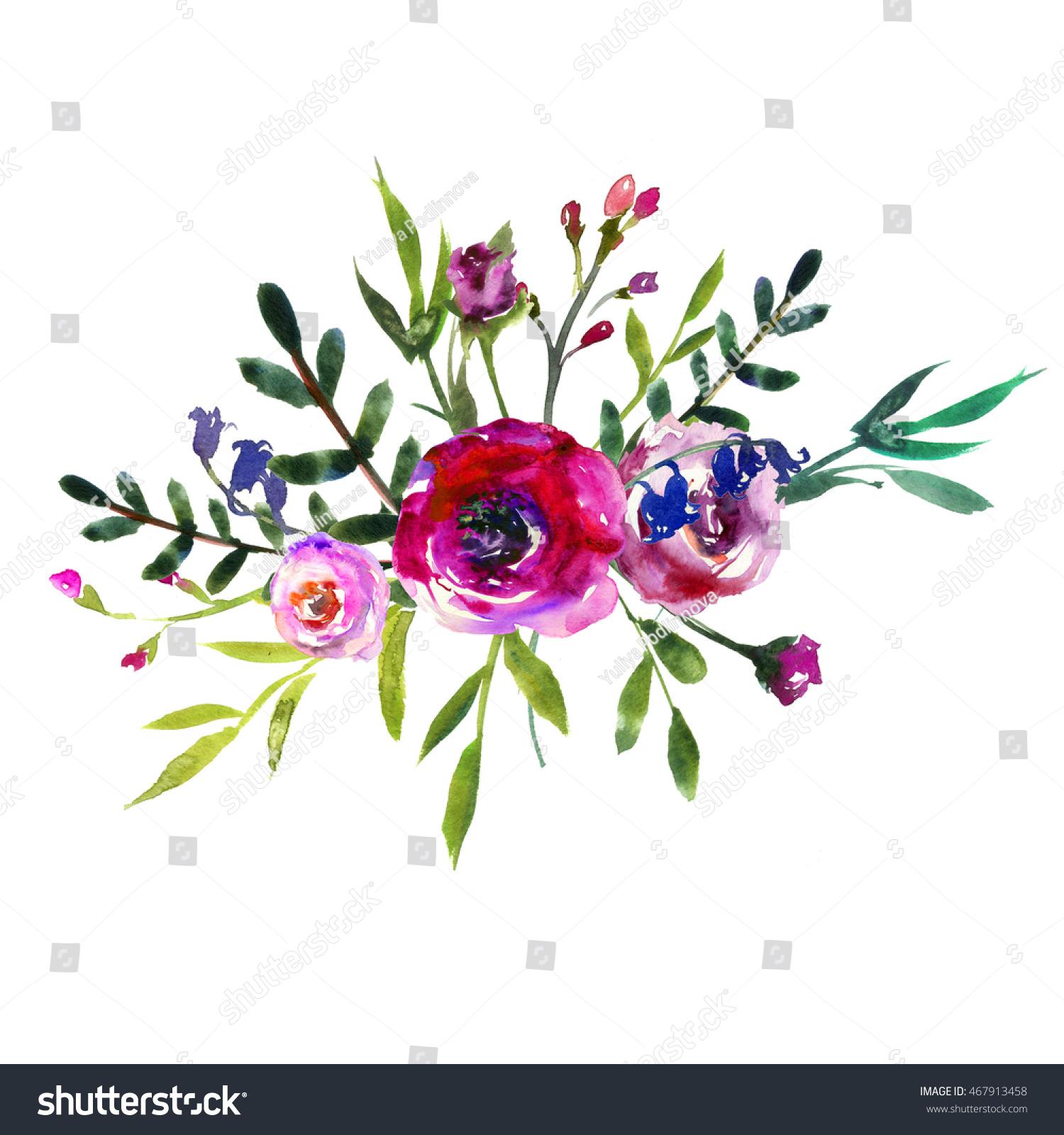 Watercolor Purple Peony Bouquet Flowers Arrangement Stock
