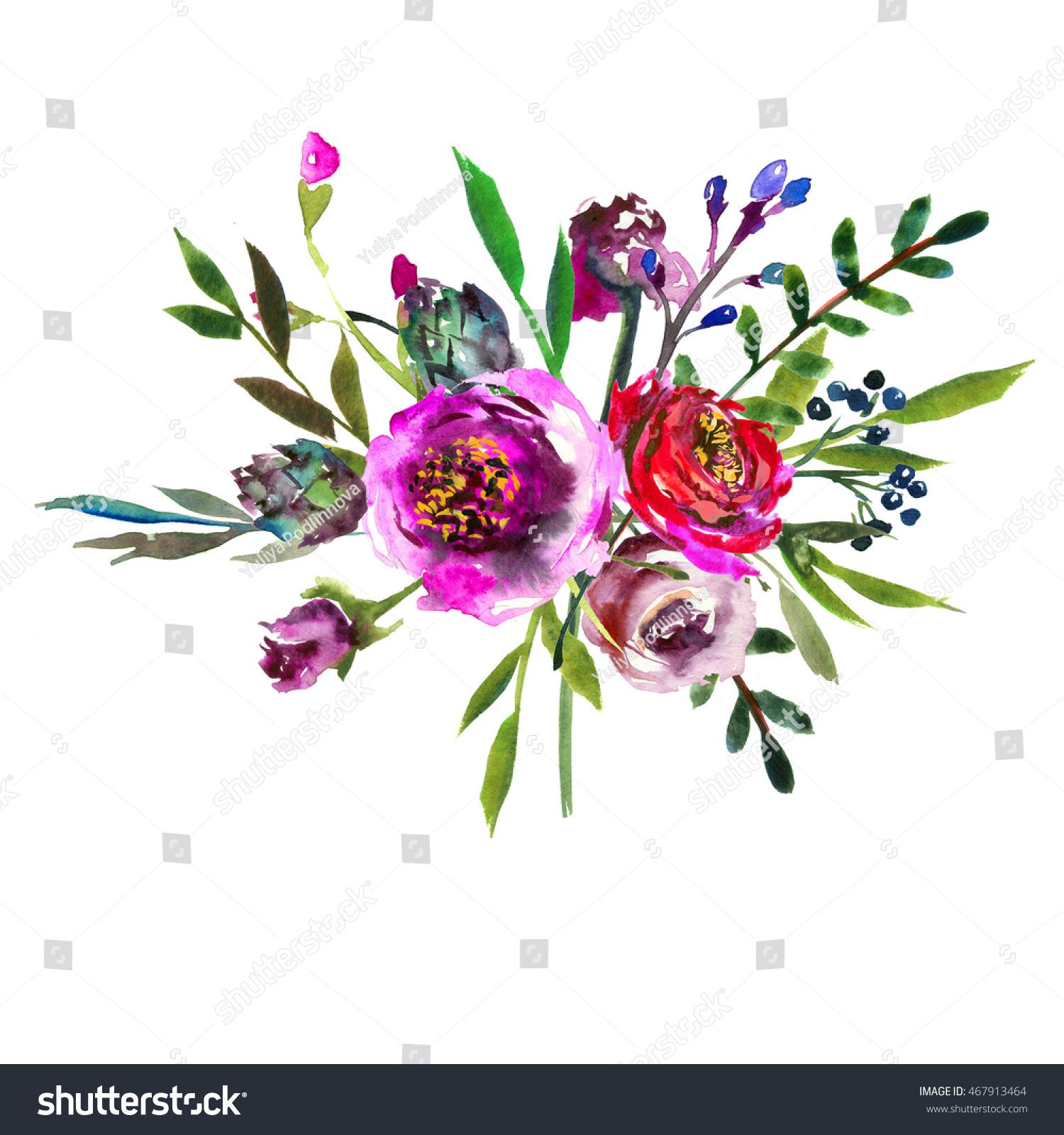 Watercolor Pink Peony Bouquet Flowers Arrangement Stock