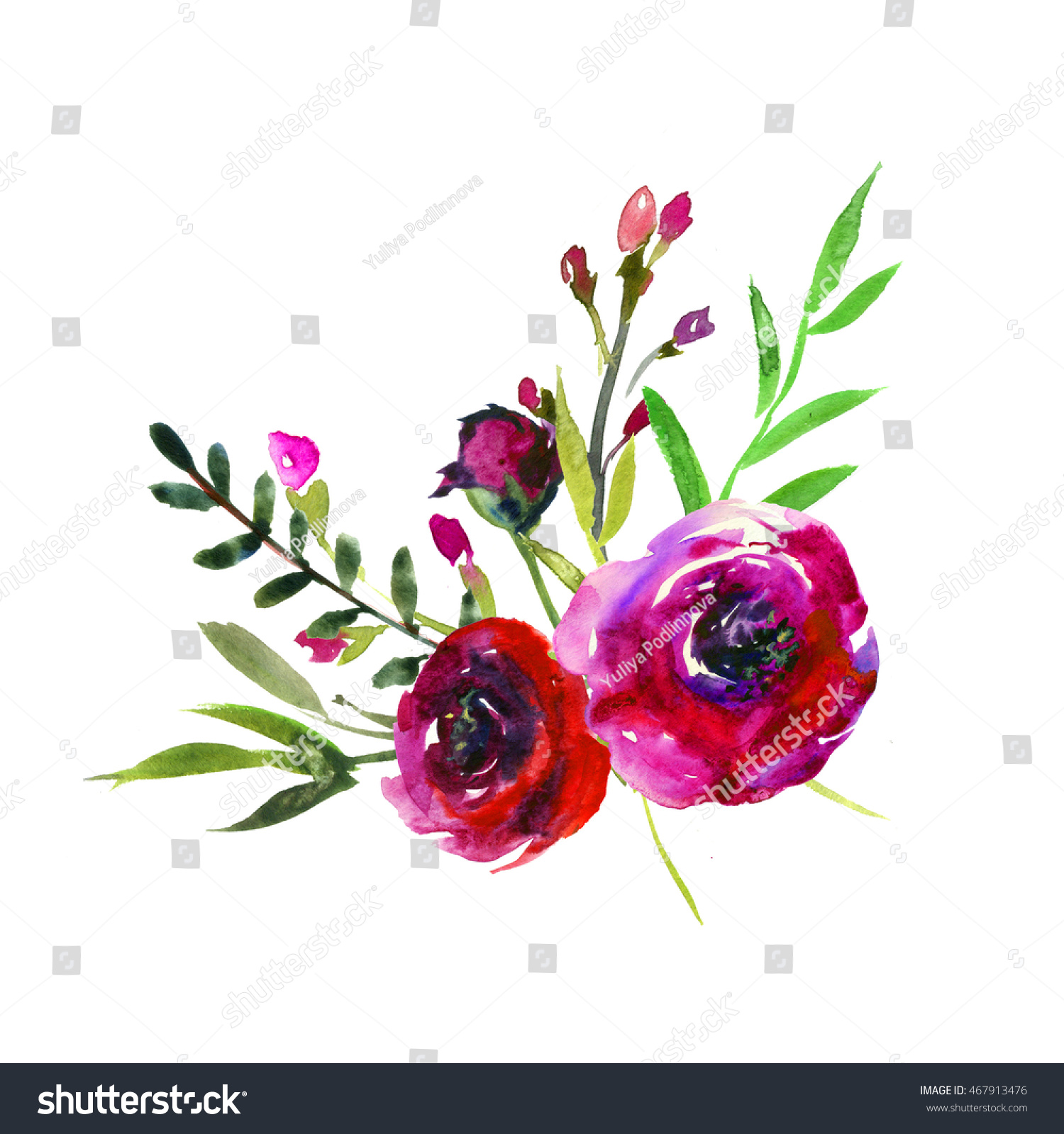 Watercolor Burgundy Flowers Arrangement Isolated Stock