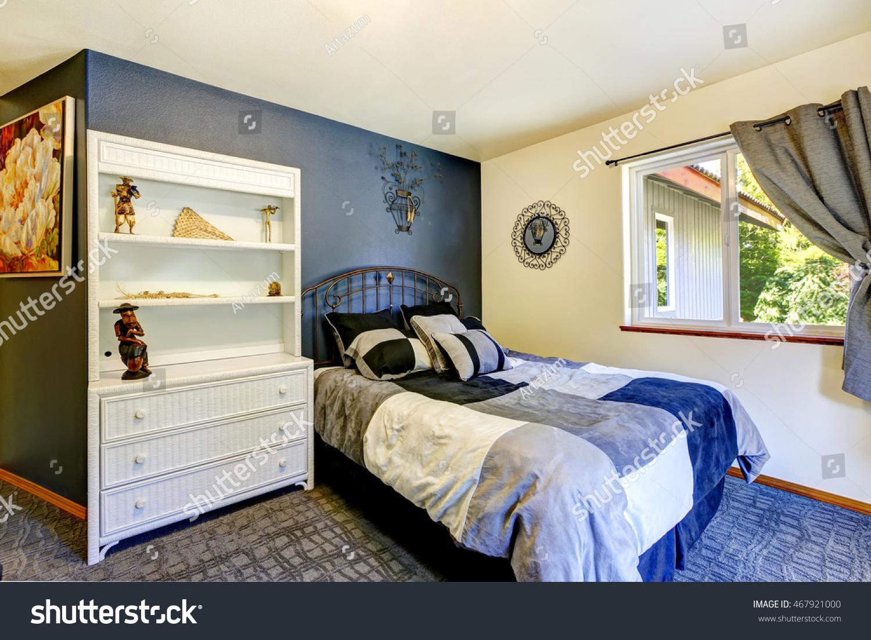 Bedroom Interior Deep Blue Wall Builtin Stock Photo Edit Now
