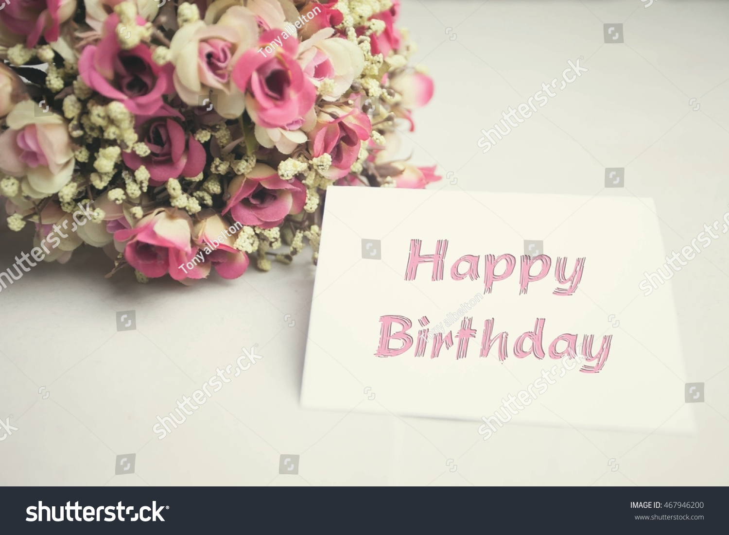 royalty free vintage flowers and card happy birthday 467946200