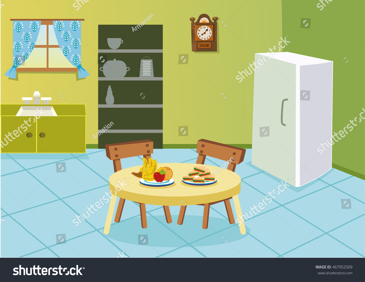 Cartoon kitchen table - Cartoon Kitchen