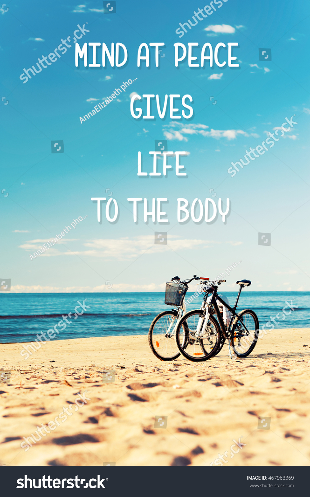Mind At Peace Gives Life To The Body. Inspirational Motivation Quote With  Two Bicycles On
