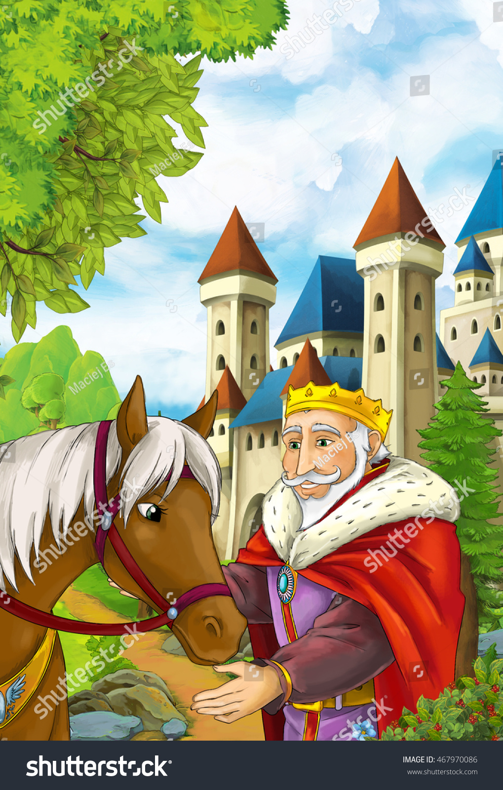 Cartoon Scene King His Horse Near Stock Illustration 467970086