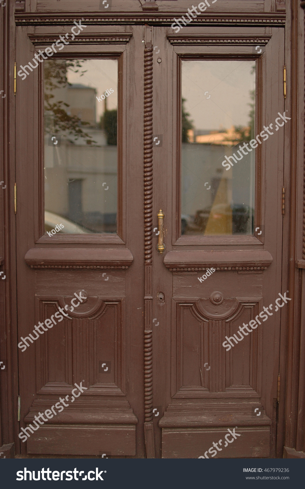 Old Wooden Brown Door Glass Inserts Stock Photo Edit Now 467979236