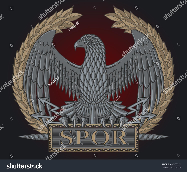 Emblem Roman Legion Eagle On Background Stock Vector ...