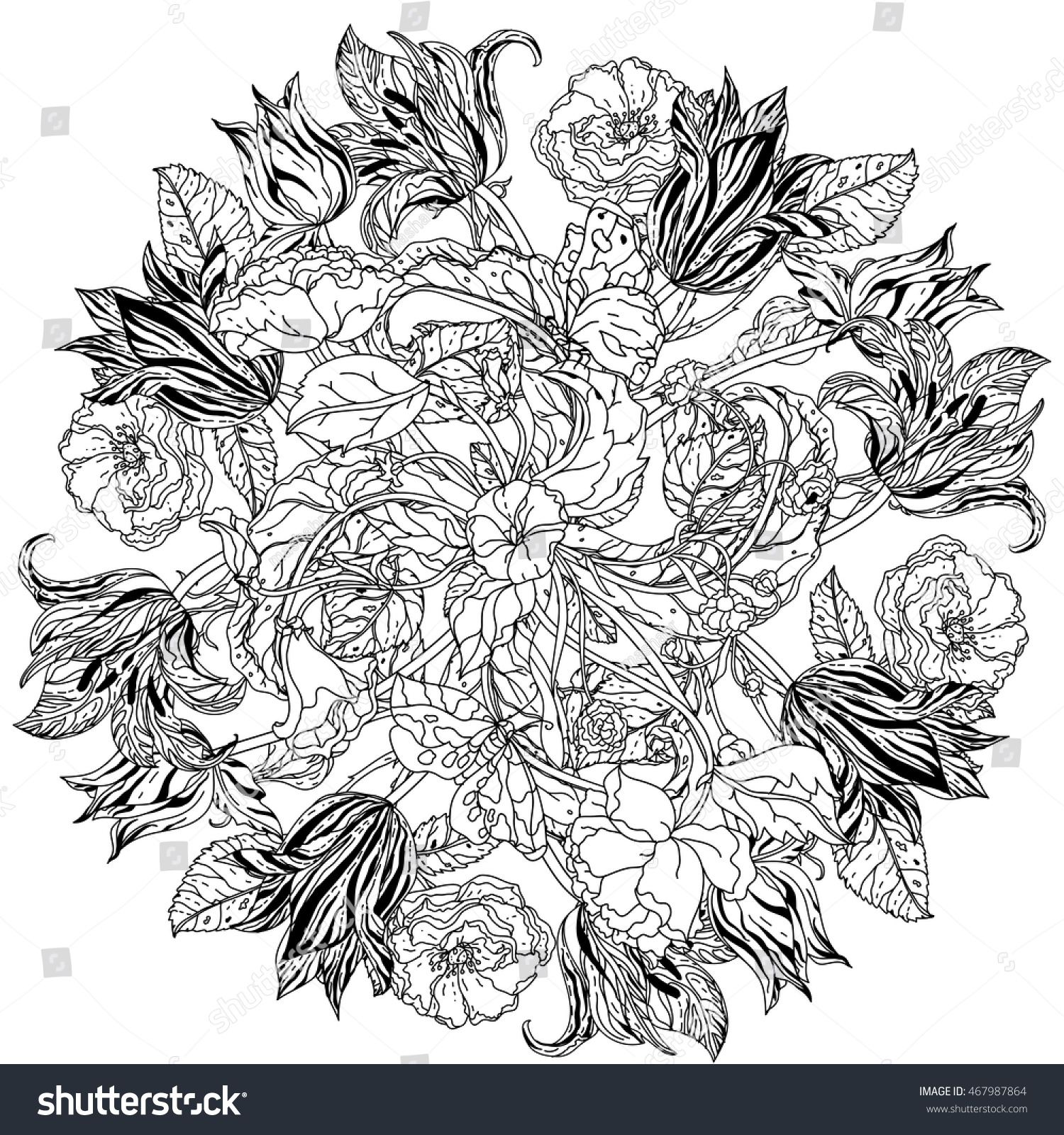 Contoured Victorian Garden Flowers Leaves Mandala Stock Vector