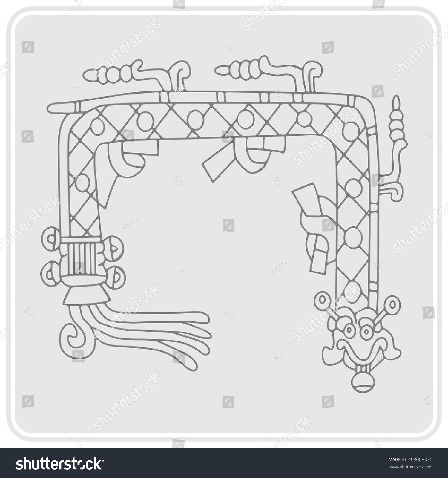 Monochrome Icon Symbols Aztec Codices Stock Vector 468008330