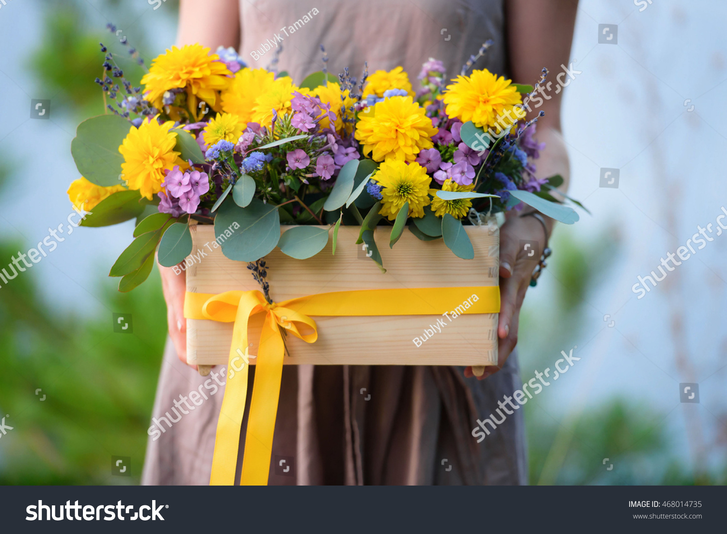 Flower arrangement yellow purple flowers wooden stock photo royalty flower arrangement yellow purple flowers wooden stock photo royalty free 468014735 shutterstock mightylinksfo