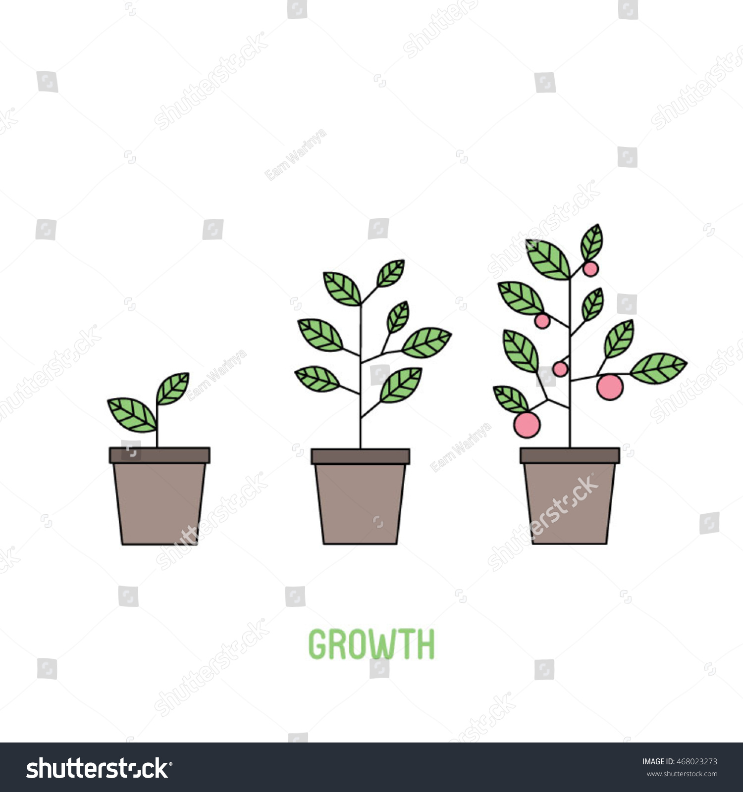 Trees Growth Stock Vector 468023273 Shutterstock