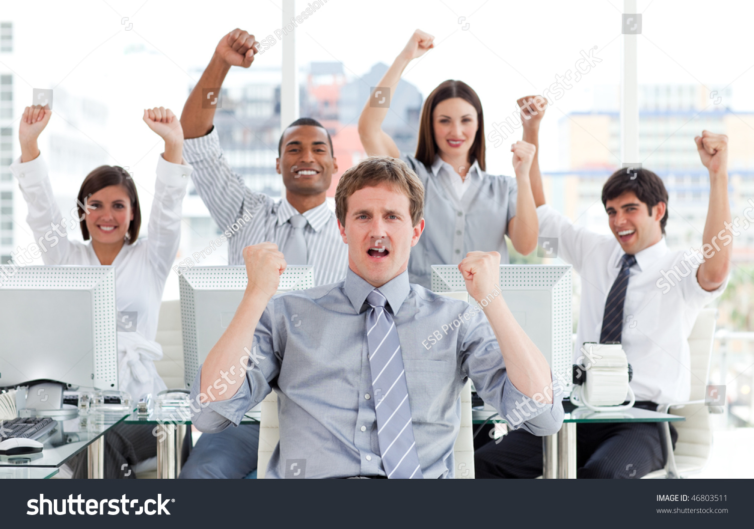 Enthusiastic Business Team Celebrating Success Office Stock Photo Edit Now 46803511