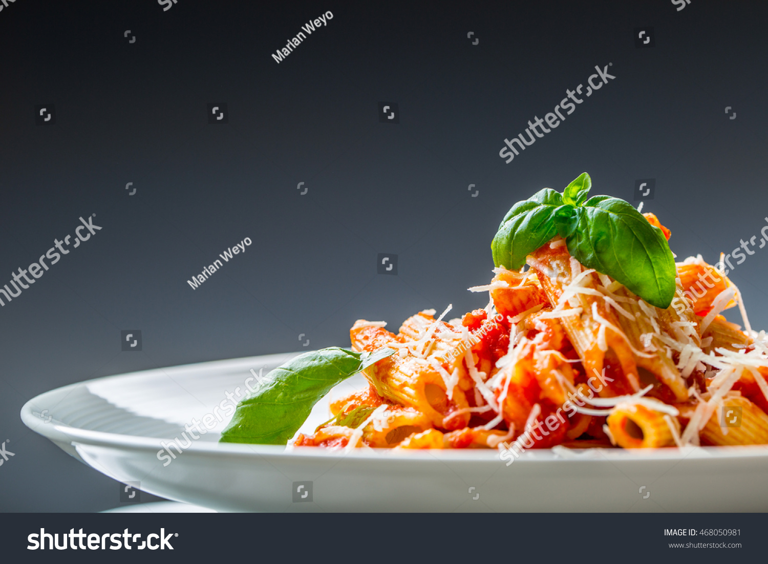 Pasta Penne with Tomato Bolognese Sauce, Parmesan Cheese and Basil ...