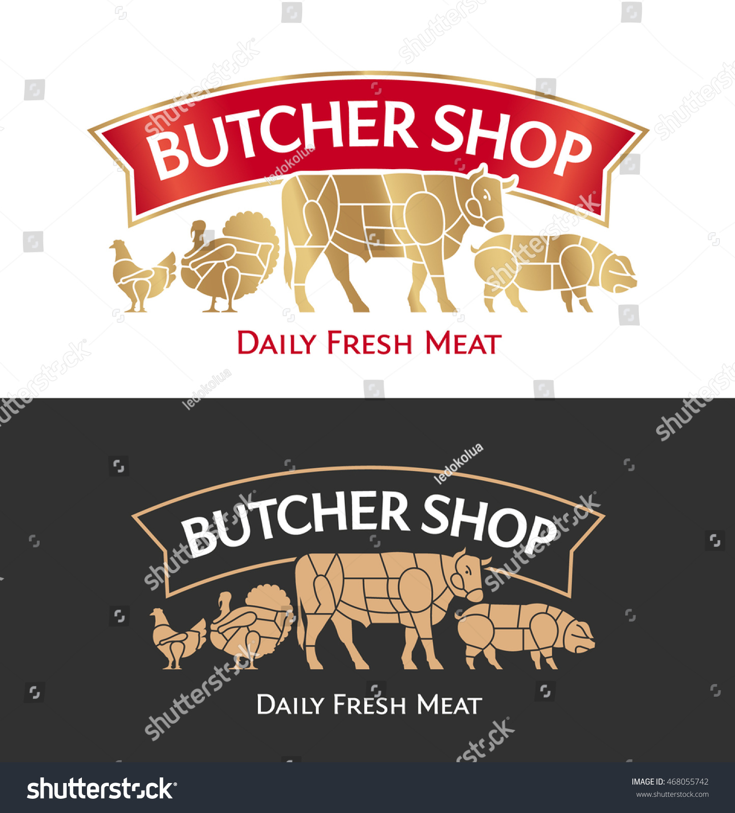 Butcher Shop Logo Meat Label Template Stock Vector Royalty Free Chicken Cuts Diagram Cow Pig Turkey