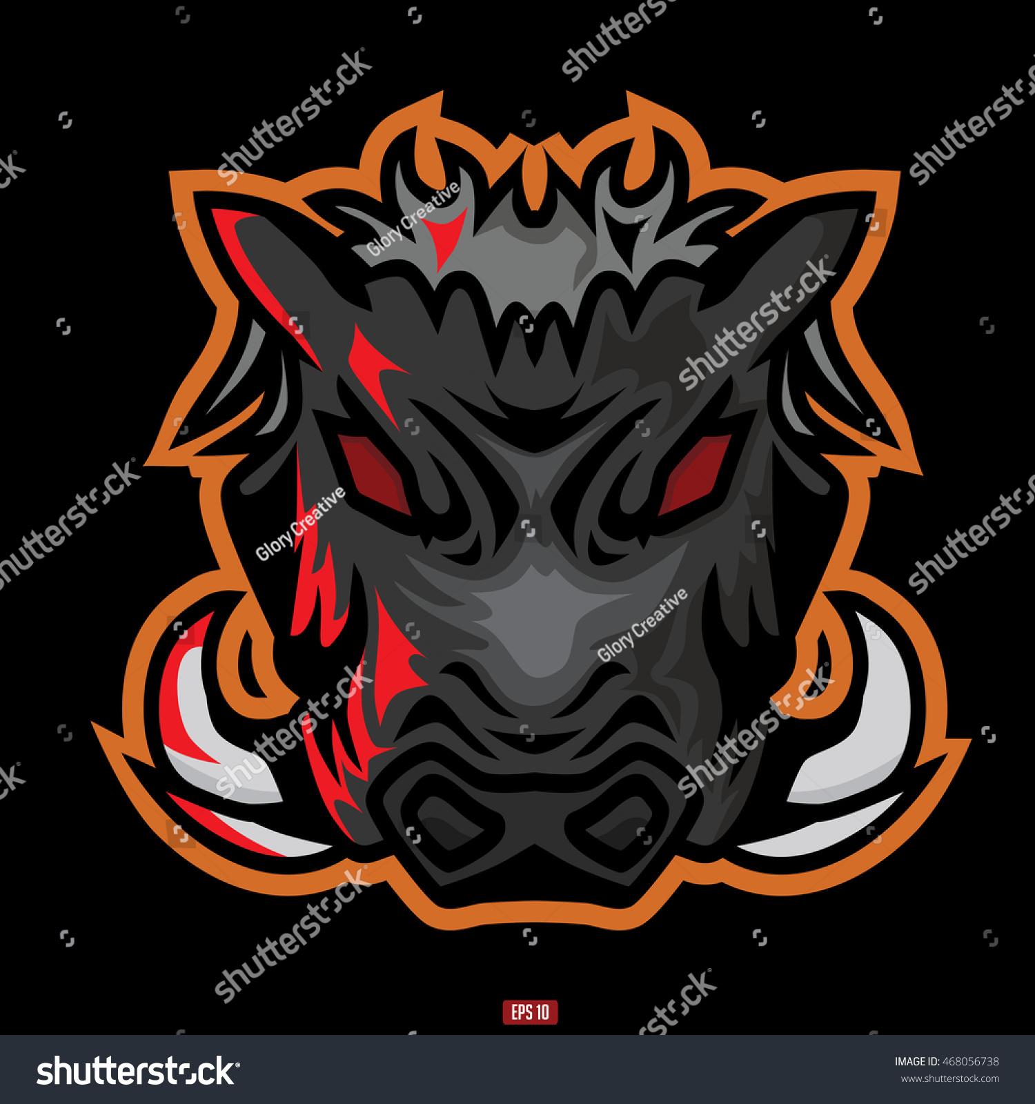 Wild Hog Head Mascot Logo Vector Stock Vector 468056738 Shutterstock