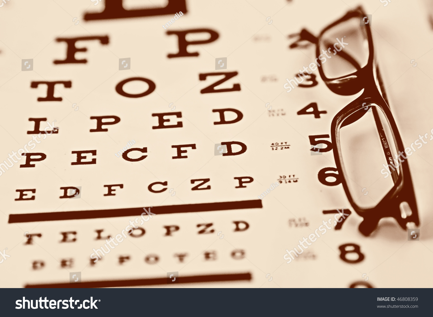 Royalty Free Reading Glasses On An Eye Chart 46808359 Stock Photo