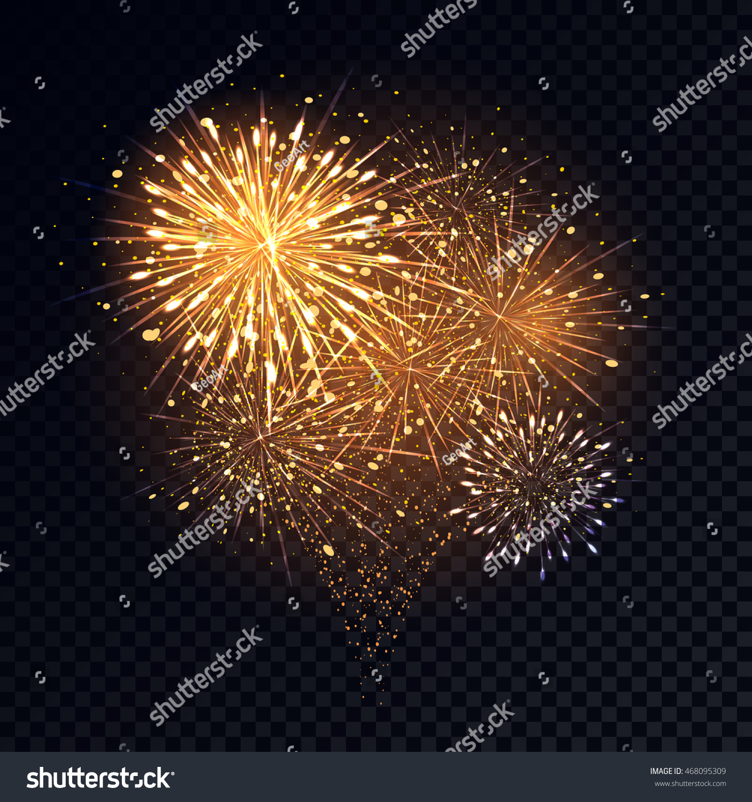 abstract golden fireworks explosion on transparent background