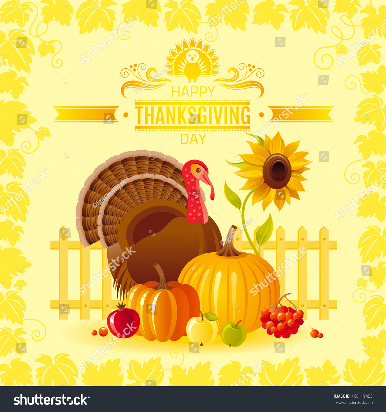 Vector Illustration Autumn Thanksgiving Greeting Card Stock Vector