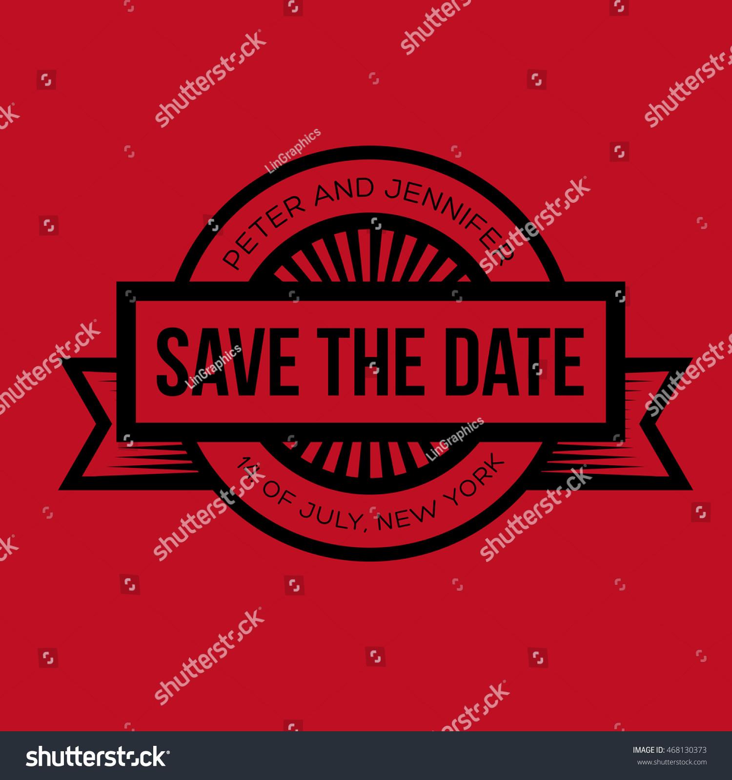 Save Date Retro Wedding Invitation Stock Vector 468130373 - Shutterstock