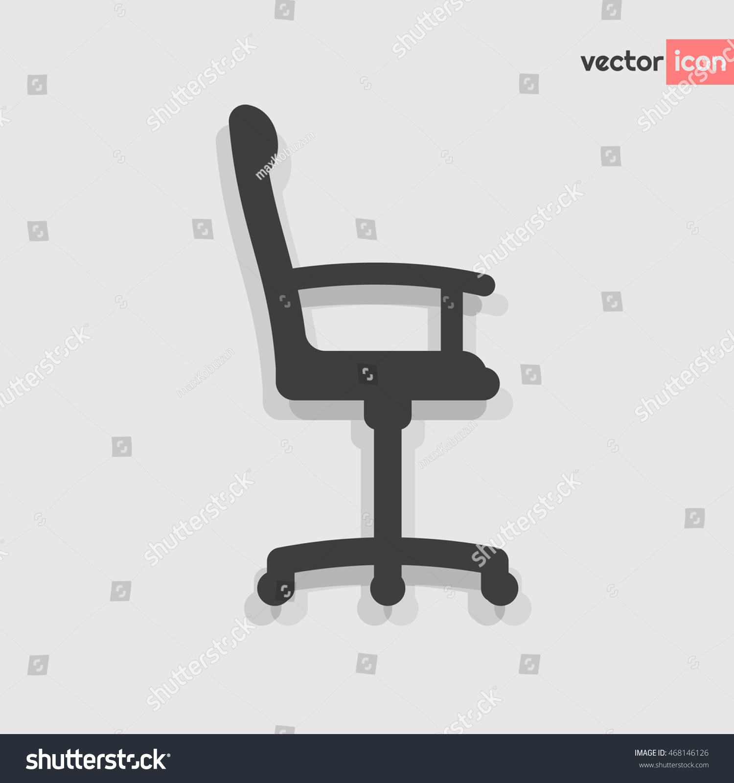 Grey Office Chair Vector Flat Icon Stock Vector (2018) 468146126 ... for office chair vector side view  61obs