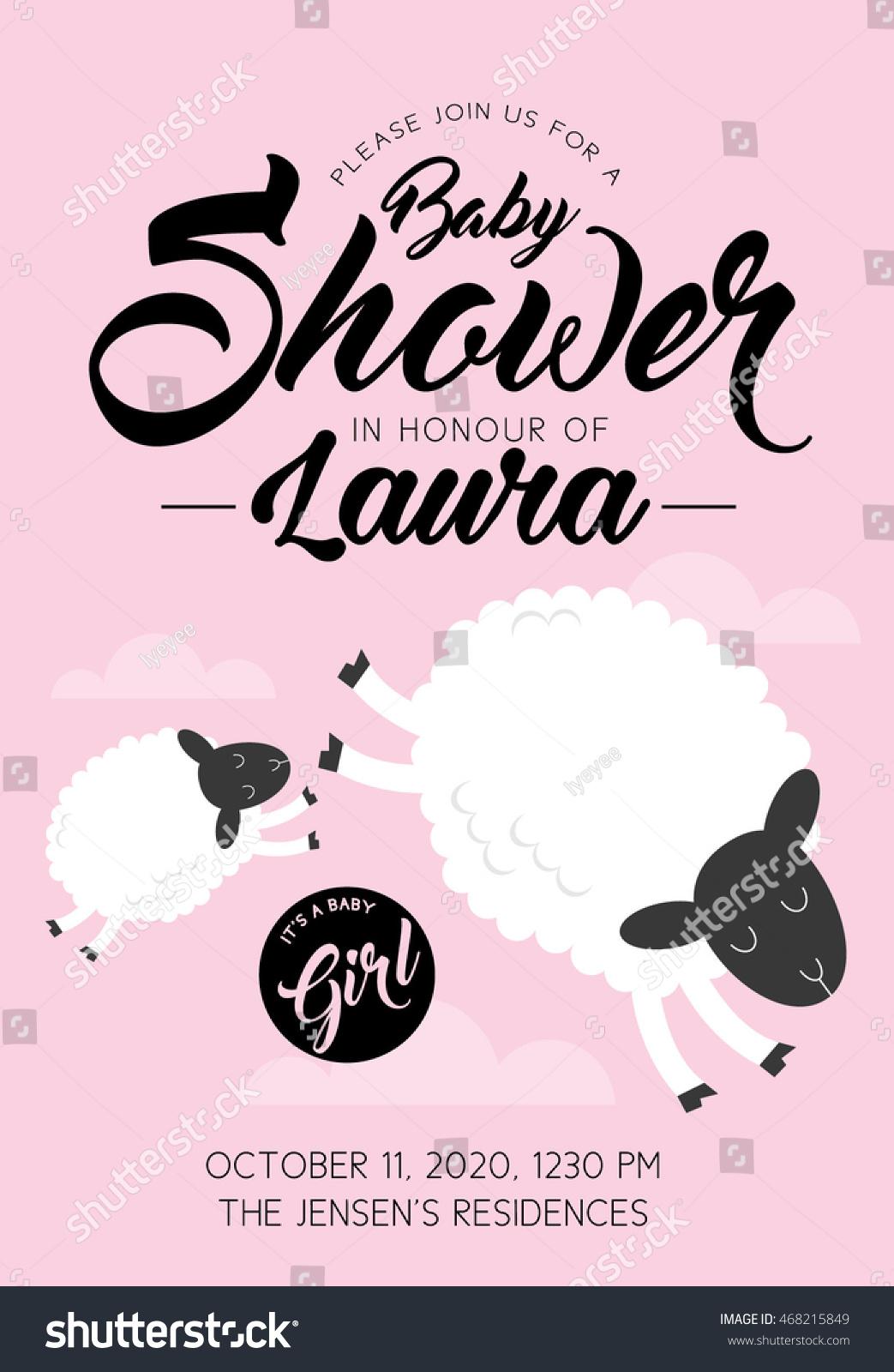 Sheep Baby Girl Shower Invitation Card Stock Vector 468215849 ...