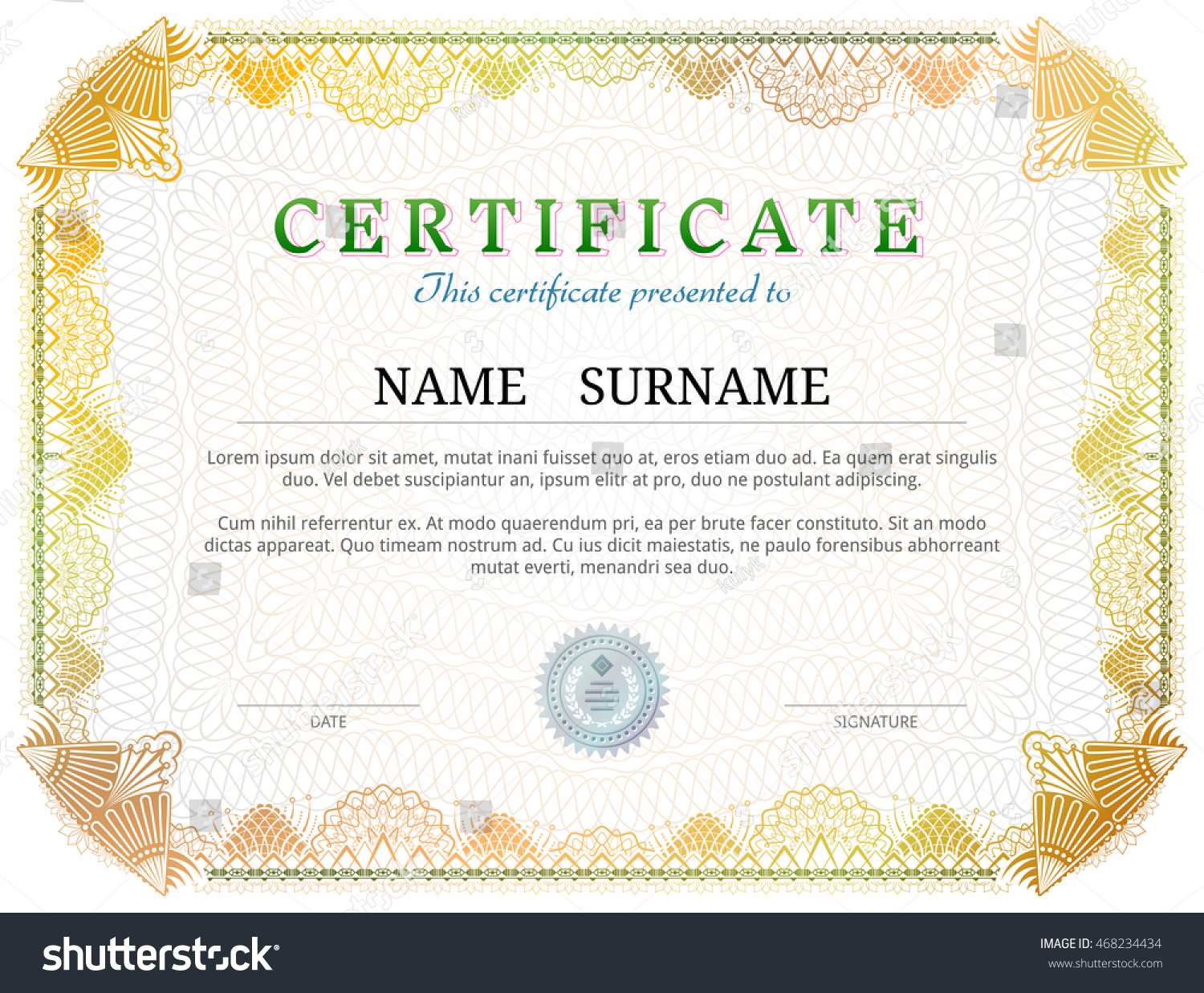 Scholarship certificate template word image free pamphlet football certificates templates uk choice image templates stock vector certificate template with guilloche elements yellow diploma yelopaper Choice Image