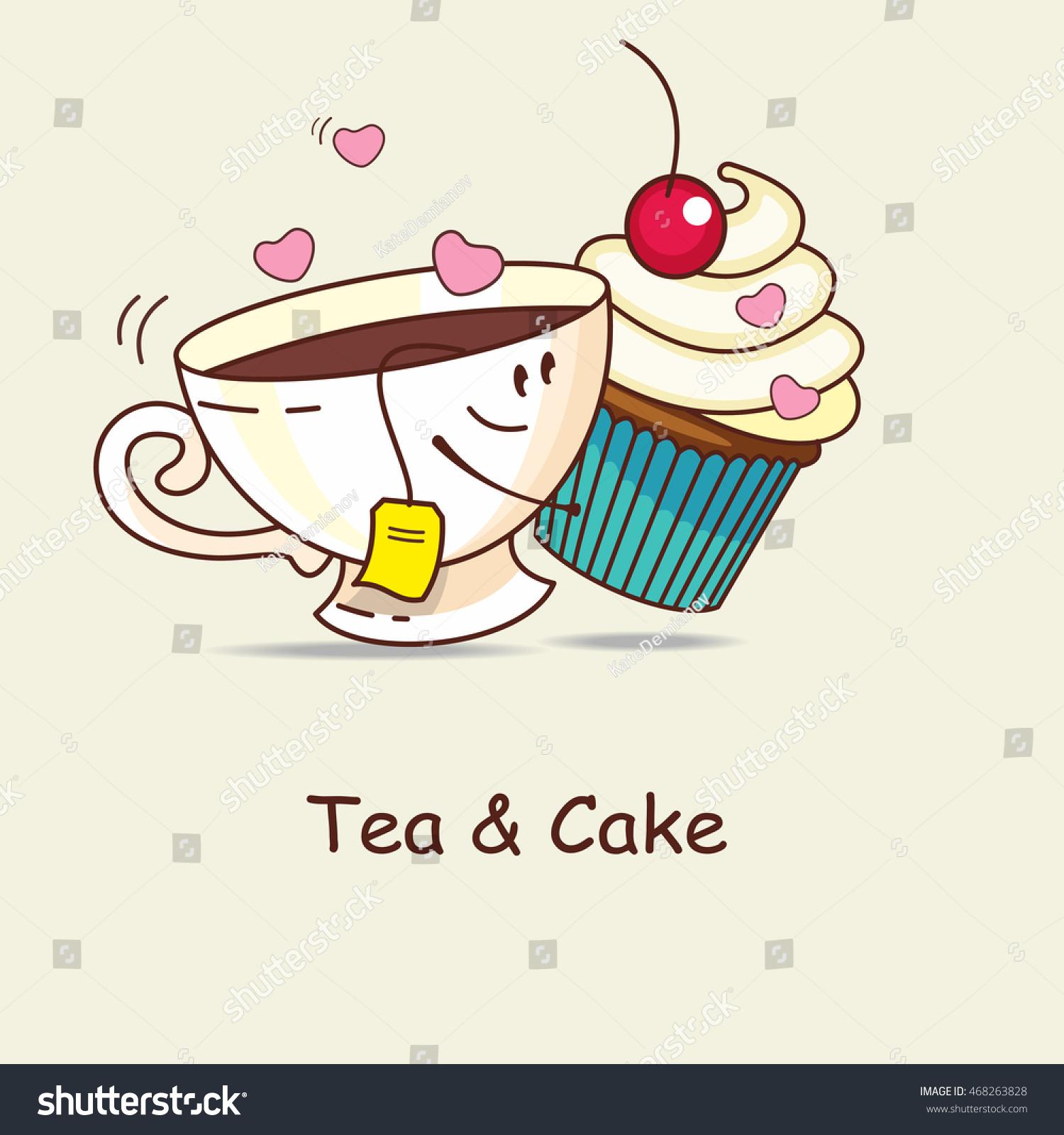 Tea Cake Love Forever Tea Cake Stock Vector 468263828 ...