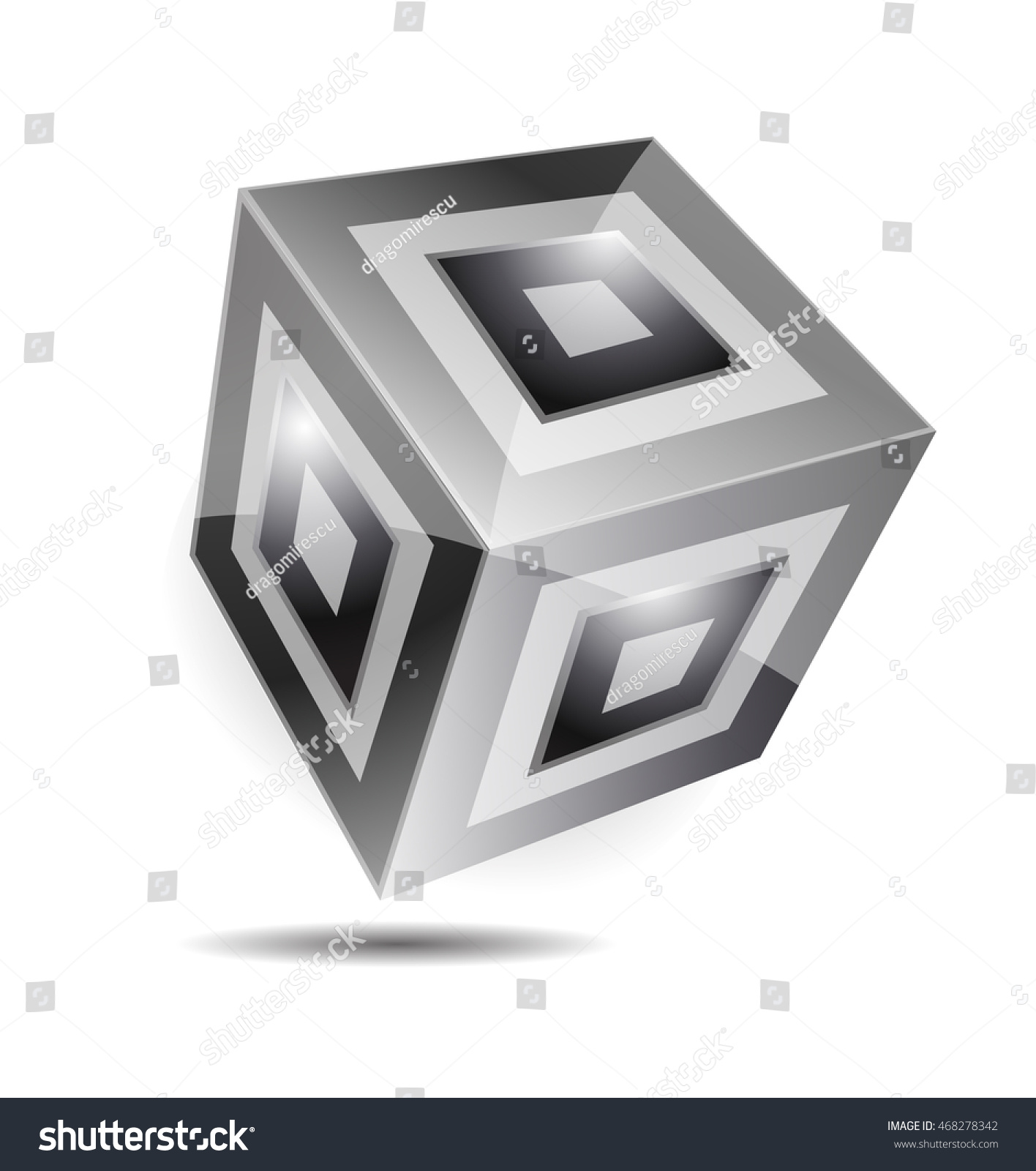 Black White Cube Logo Design 3 D Stock Vector (Royalty Free ...