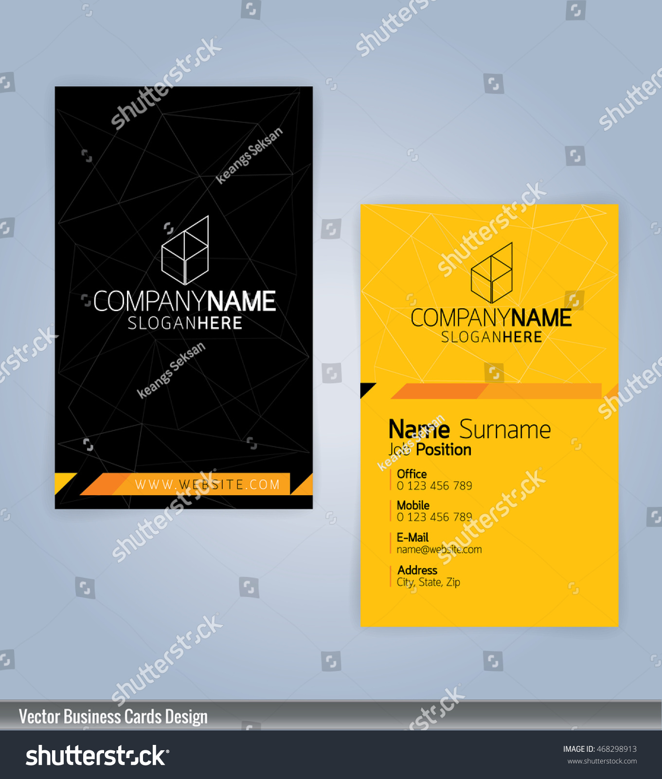 yellow black modern business card template stock vector