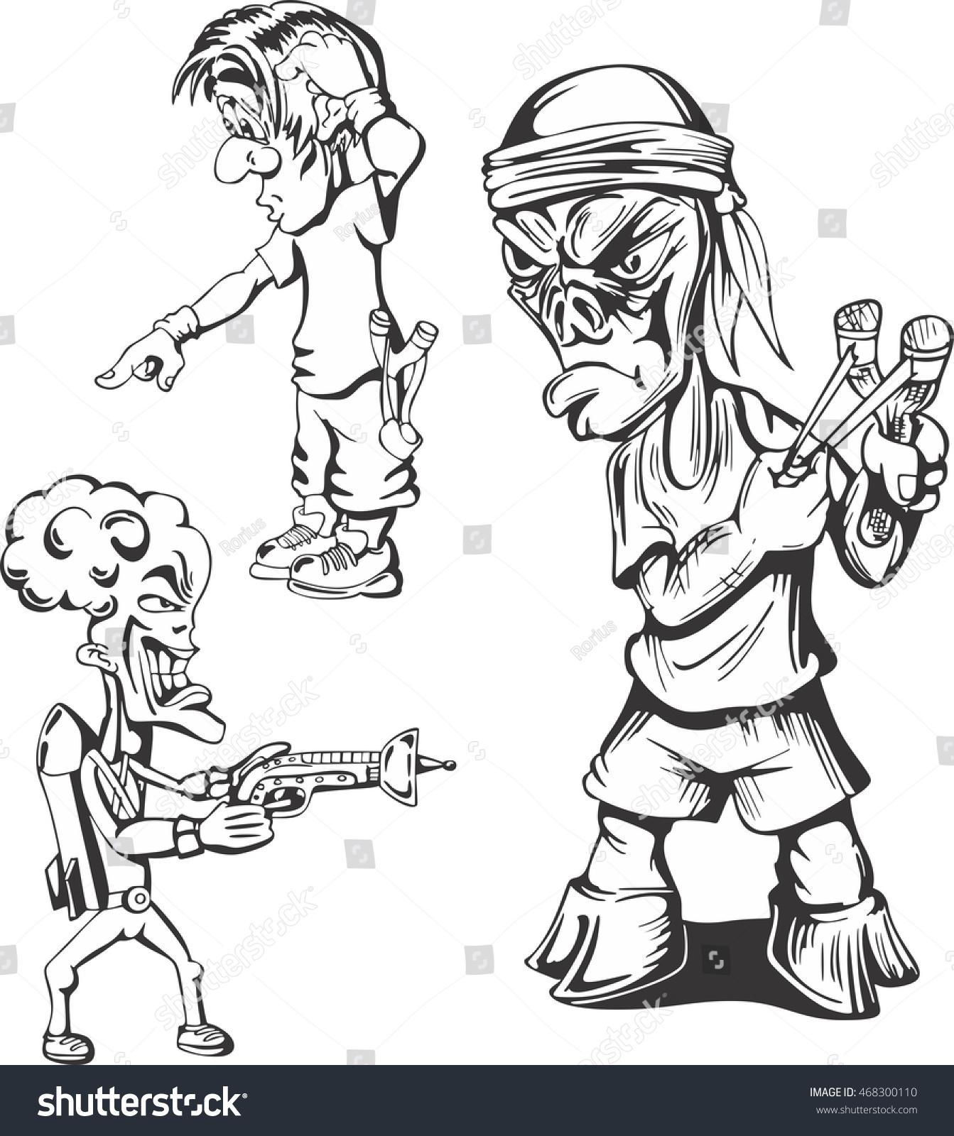 Set of teenage hooligans vector illustrations