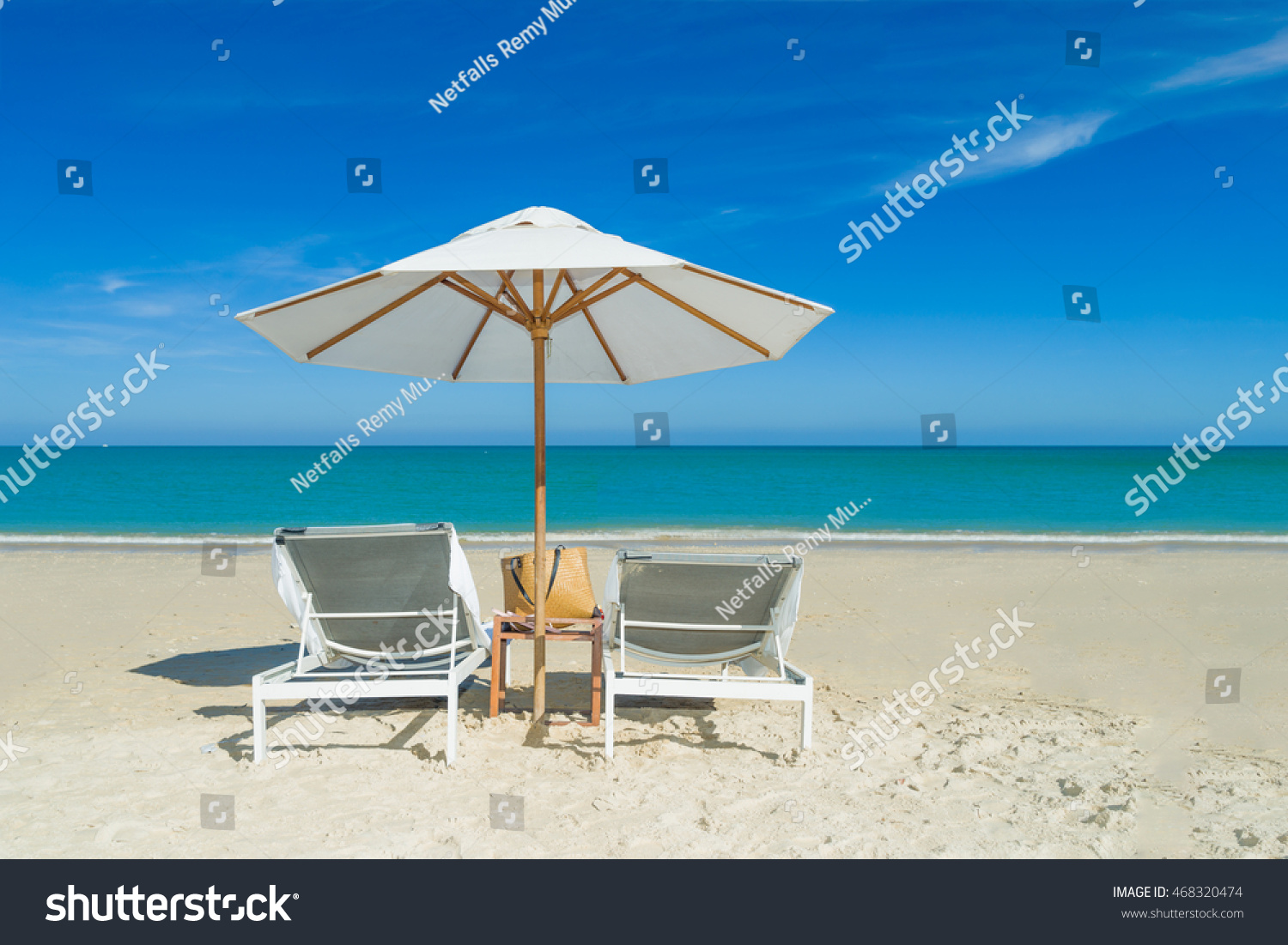Beach Chairs The White Sand Beach With Cloudy Blue Sky Stock Shutterstock