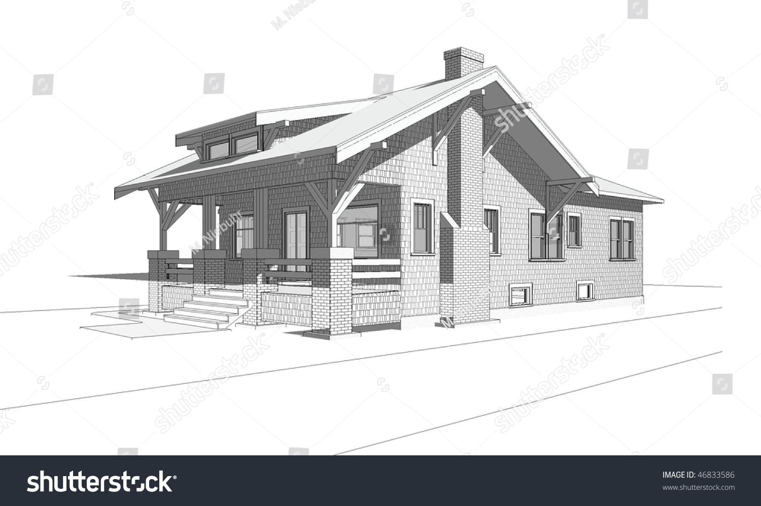 Architectural Perspective Drawing Of Old Craftsman Style Bungalow Home