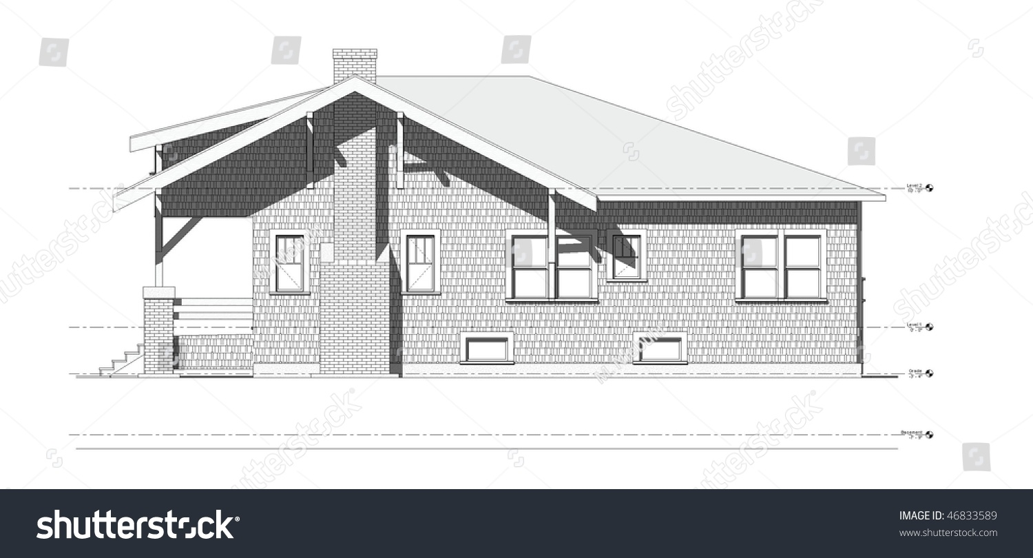 Architectural elevation drawing of old craftsman style bungalow home on  isolated white background. Architectural Elevation Drawing Old Craftsman Style Stock
