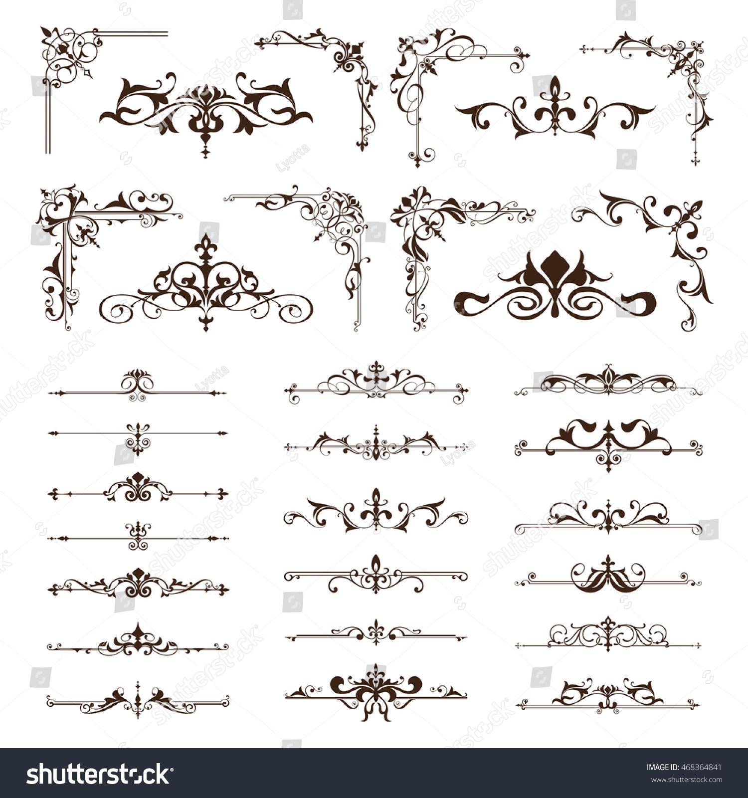 Vector Vintage Design Elements Borders Frames Stock Vector 468364841 ...