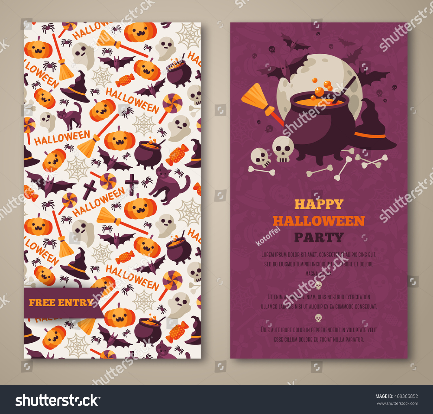 Halloween Two Sides Poster Flyer Menu Stock Vector 468365852 ...