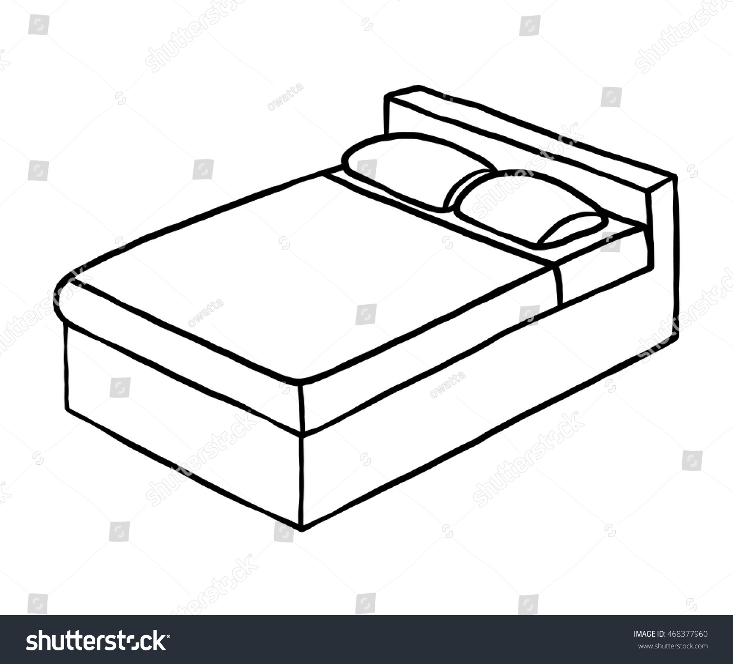 Double Bed Cartoon Vector Illustration Black Stock Vector ...