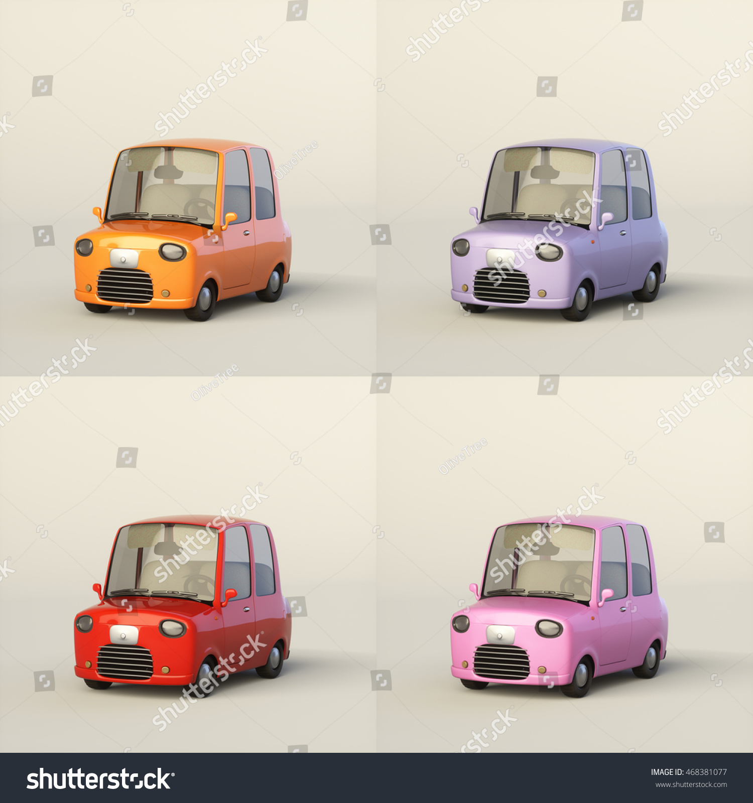 Cute Cartoon Stylized Car Four Color Stock Illustration 468381077
