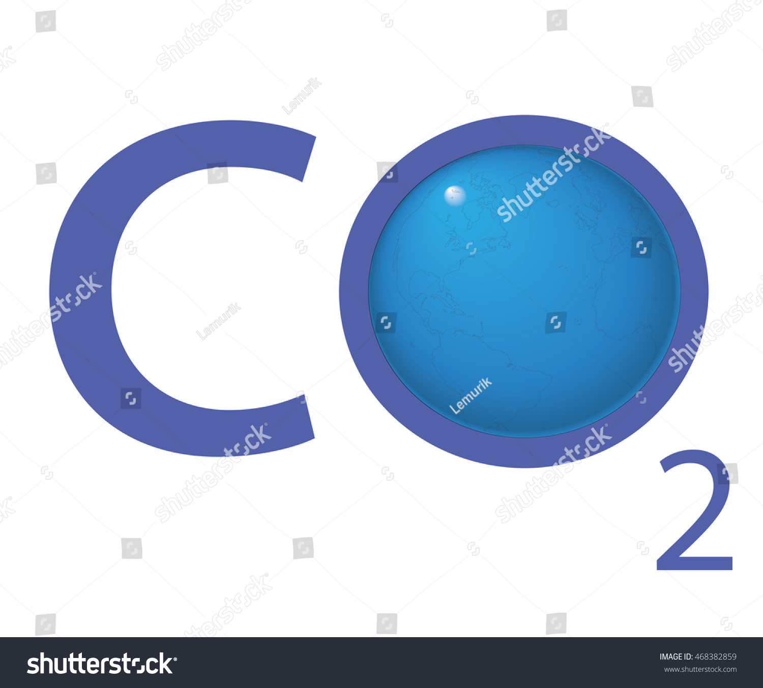 Chemical symbol co2 carbon dioxide blue stock vector 468382859 chemical symbol co2 for carbon dioxide in blue a globe is replacing the letter o buycottarizona Images