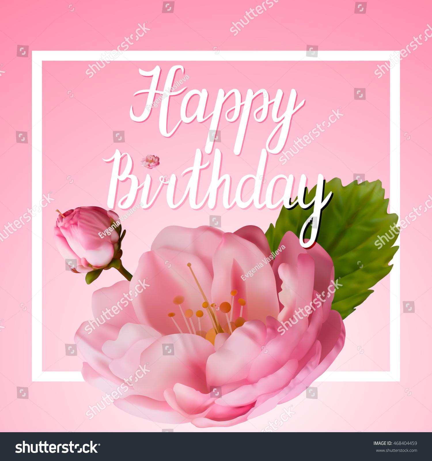 Greeting Card Greetings Happy Birthday Pink Stock Vector Hd Royalty