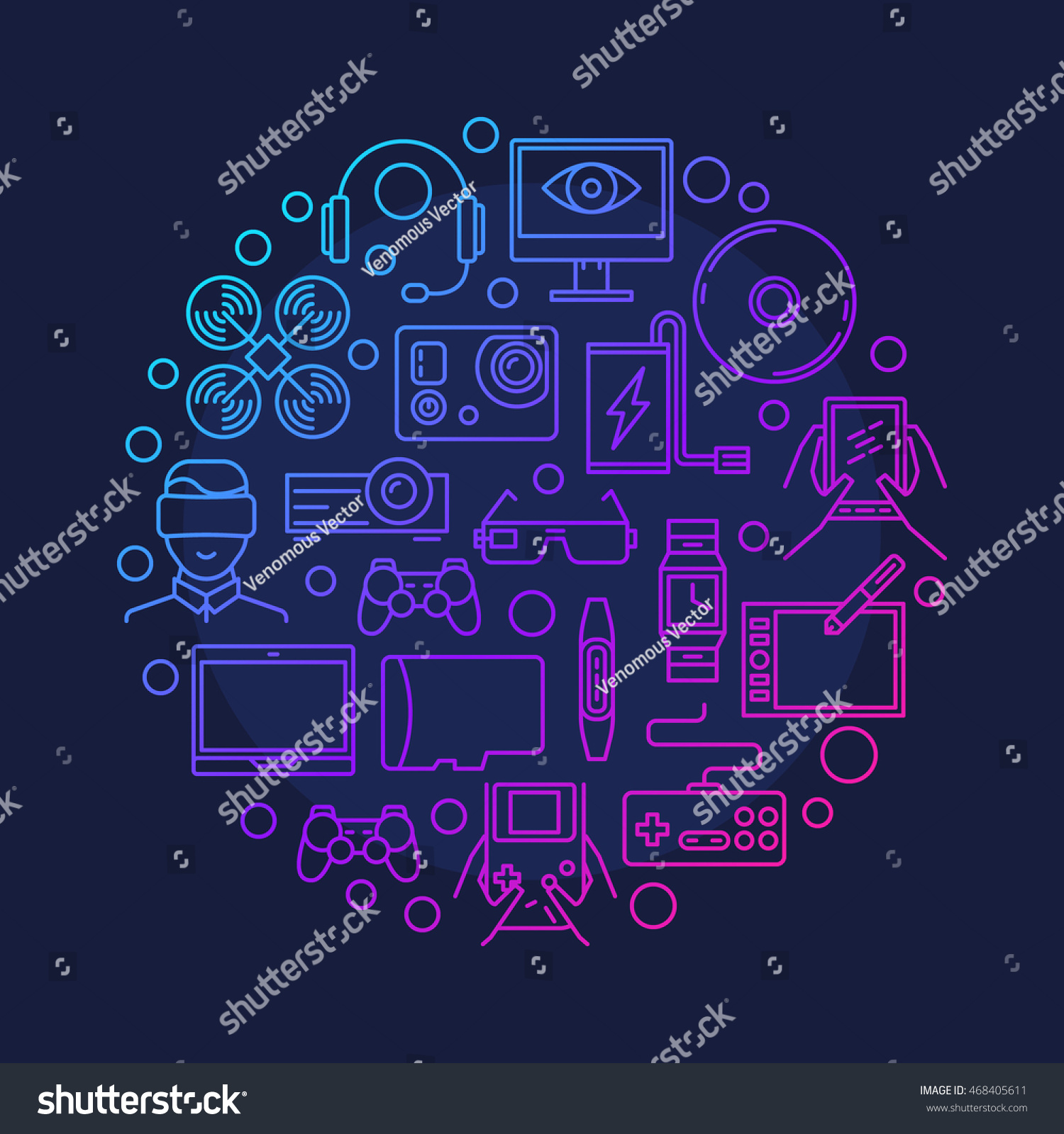 Electronic Devices Gadgets Symbol Vector Round Stock Royalty Block Diagram Of Craft Electronics And Colorful Outline Gadget Sign On Dark Blue Background