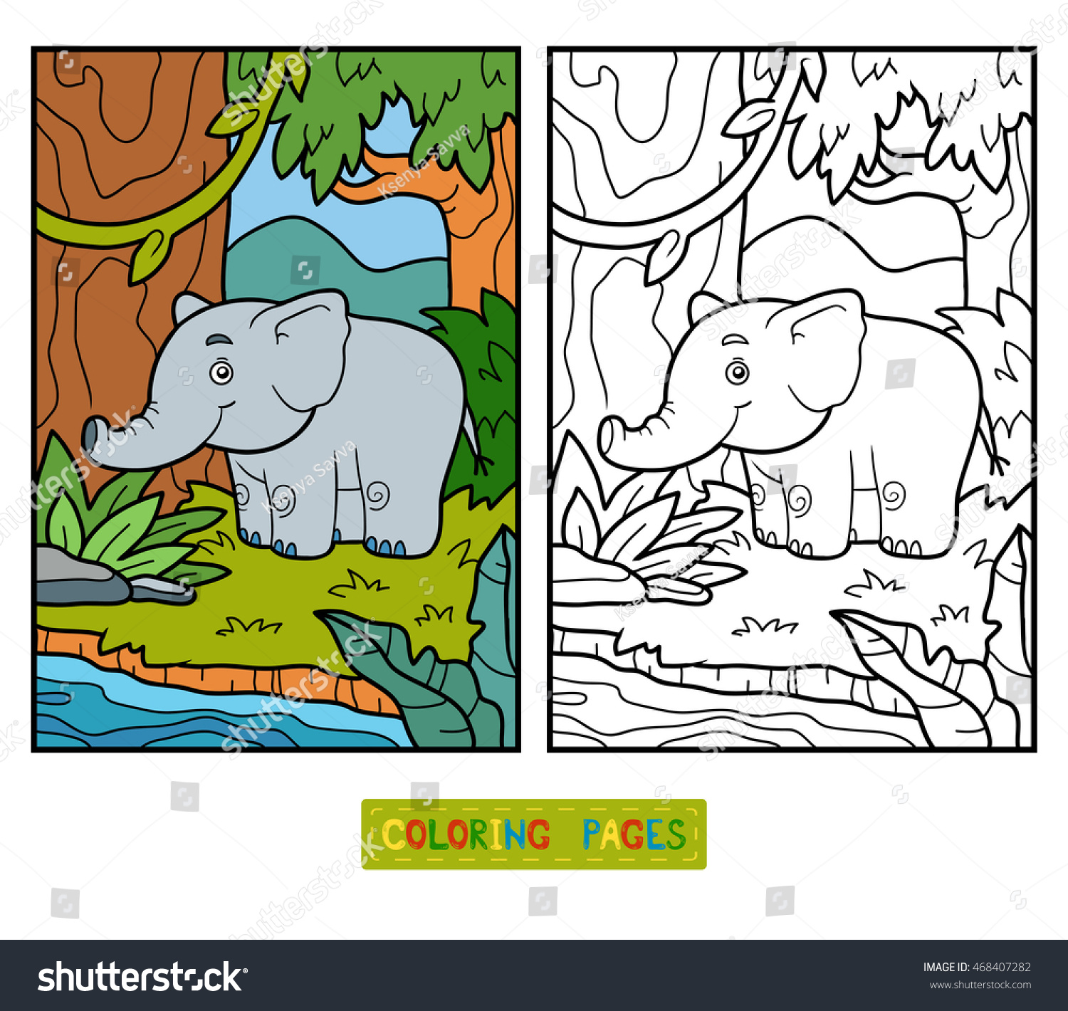 Coloring book for children, elephant and background | EZ Canvas