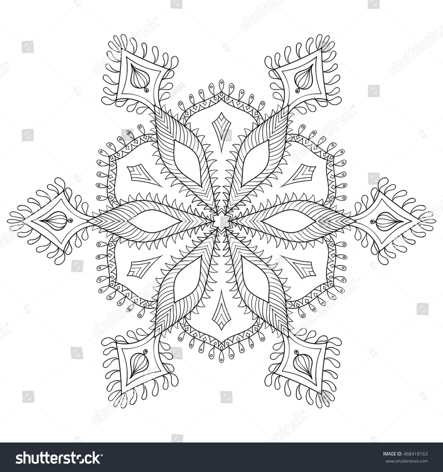 Zentangle Stylized Winter Snowflake Freehand Artistic Stock Vector ...