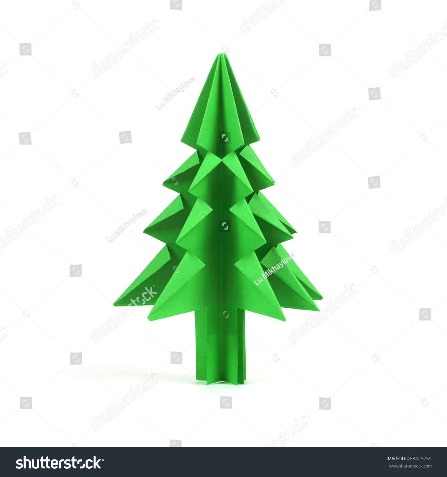 Christmas Fir Tree Paper Origami Isolated Stock Edit Now