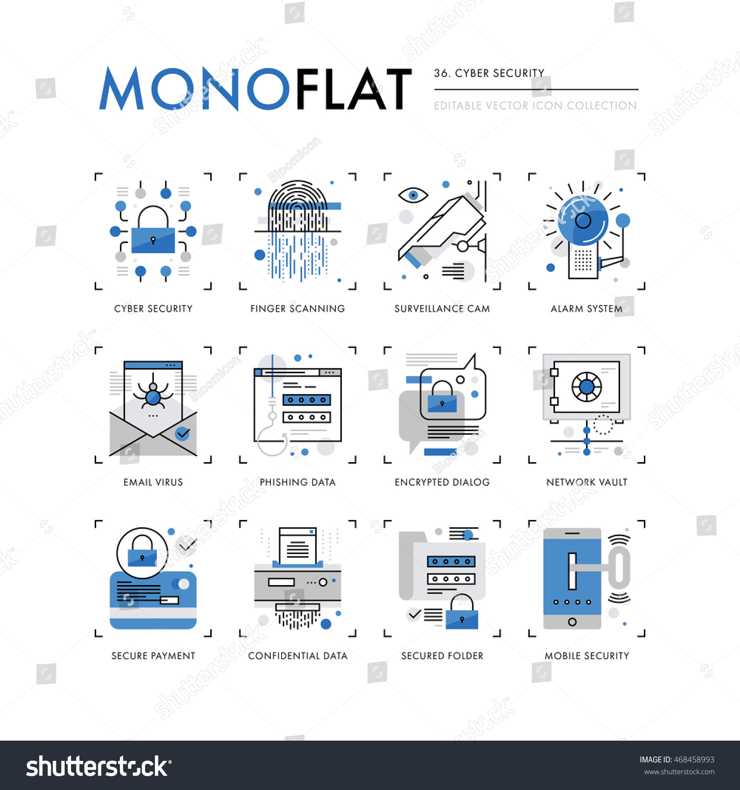 Security Encryption: Infographics Icons Collection Cyber Security Internet