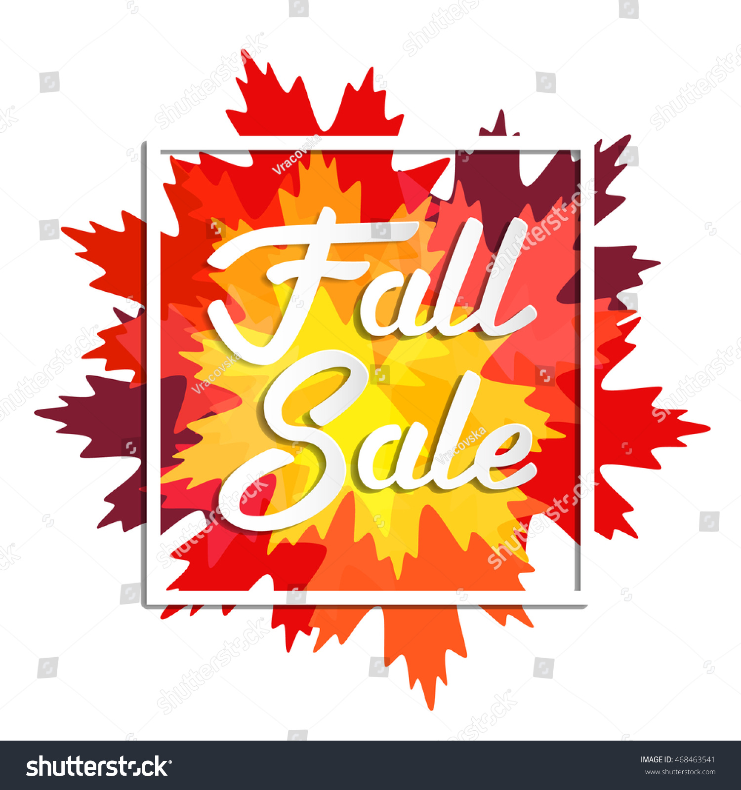 Fall Sale Design Lettering Autumn Leaves Stock Vector